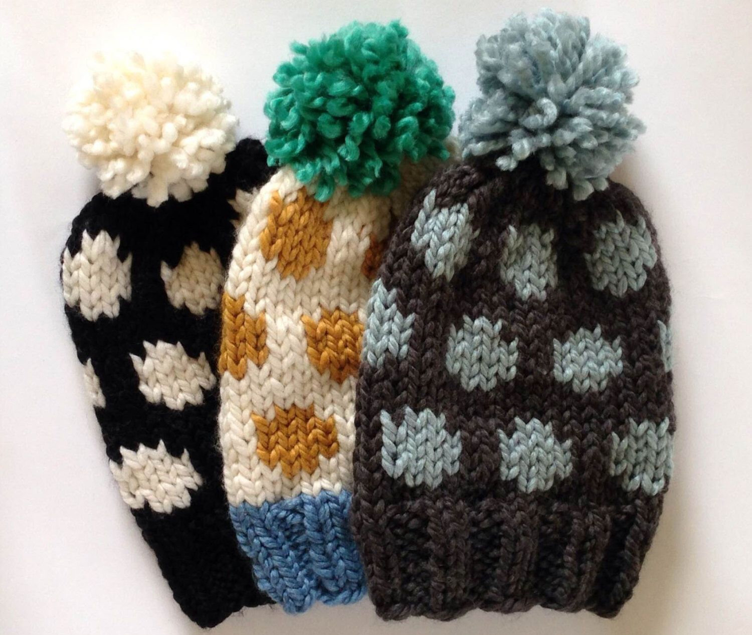 KNITTING PATTERN Polka Dot Chunky Knit Slouchy Beanie Toque Fall Winter Hat Accessory by emilygreeneblue on Etsy https://www.etsy.com/listing/170841337/knitting-pattern-polka-dot-chunky-knit