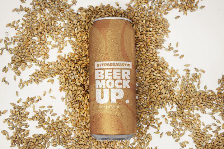 16oz Malt Beer Can Mockup 521208 Mockups Design Bundles In 2021 Malt Beer Beer Can Beer