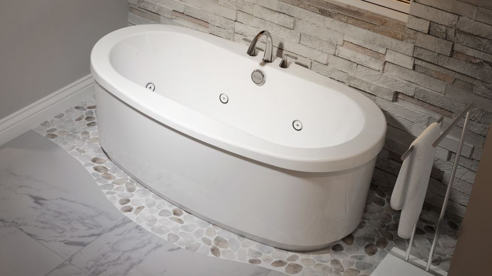 Free Standing Jetted Soaking Tub. Our Latest Obsession  The Jacuzzi Modena Freestanding Whirlpool Tub
