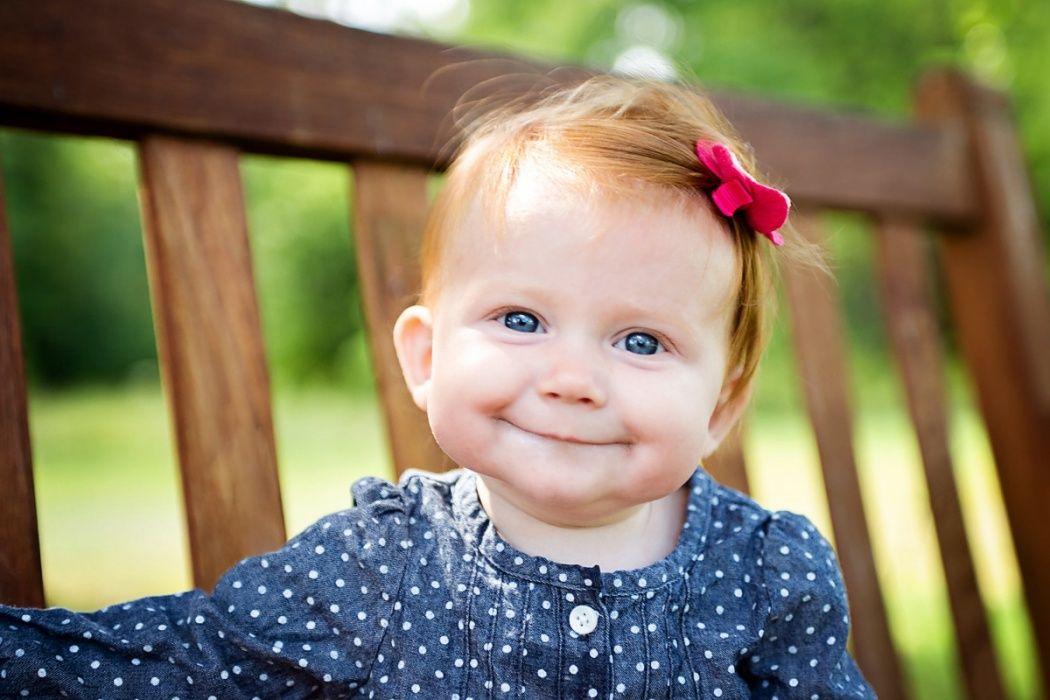 Kirtland Baby Photographer Red Hair Baby Girl Blue Eyes Cute