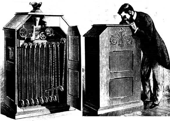 UnDiaComoHoy 1894 en EEUU, Thomas Edison presenta el kinetoscopio,  artefacto que fue un precursor de cinematografía.