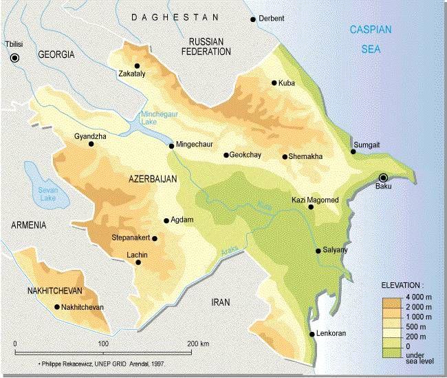 Map of Azerbaijan showing the Kura and Araks Araxes rivers These
