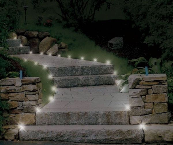 Stone path stairs garden lighting led lights stone wall design led landscape lighting in the garden transforms an ordinary garden into a romantic place for stunning evenings aloadofball Images