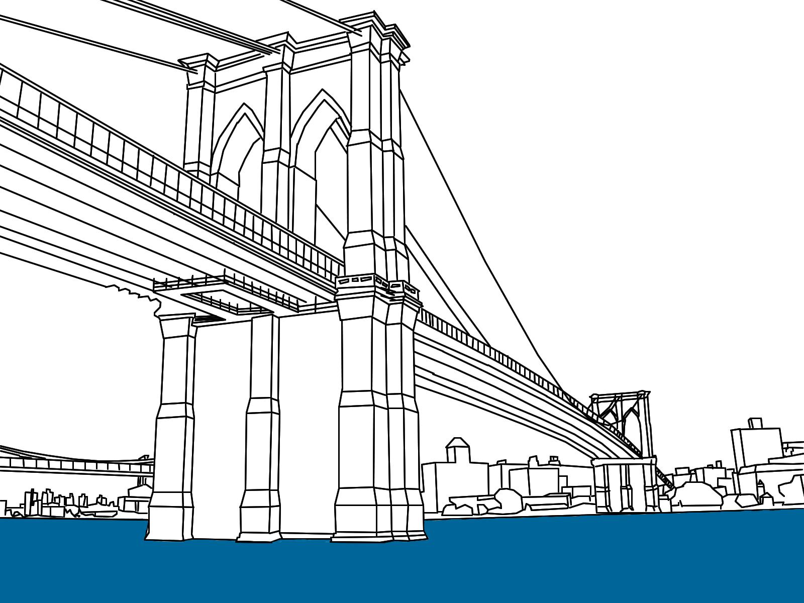 Resultado De Imagen De Brooklyn Bridge Draw Bridge Drawing New York Drawing Bridge Painting