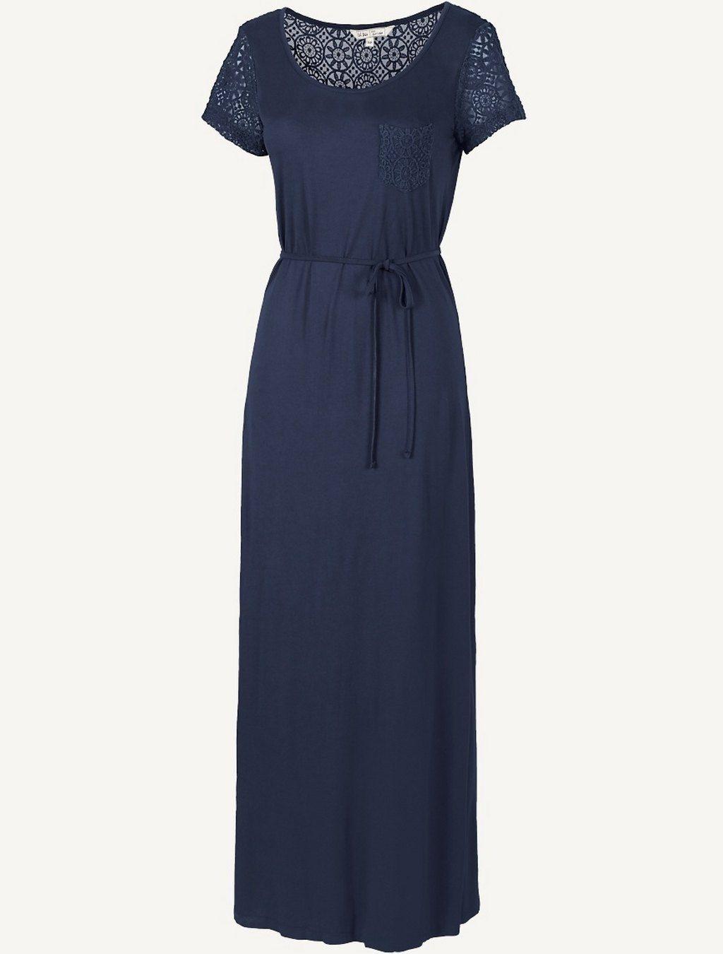 Lizzy T-Shirt Lace Maxi Dress (Navy or Tea Rose)  54e04837f3f