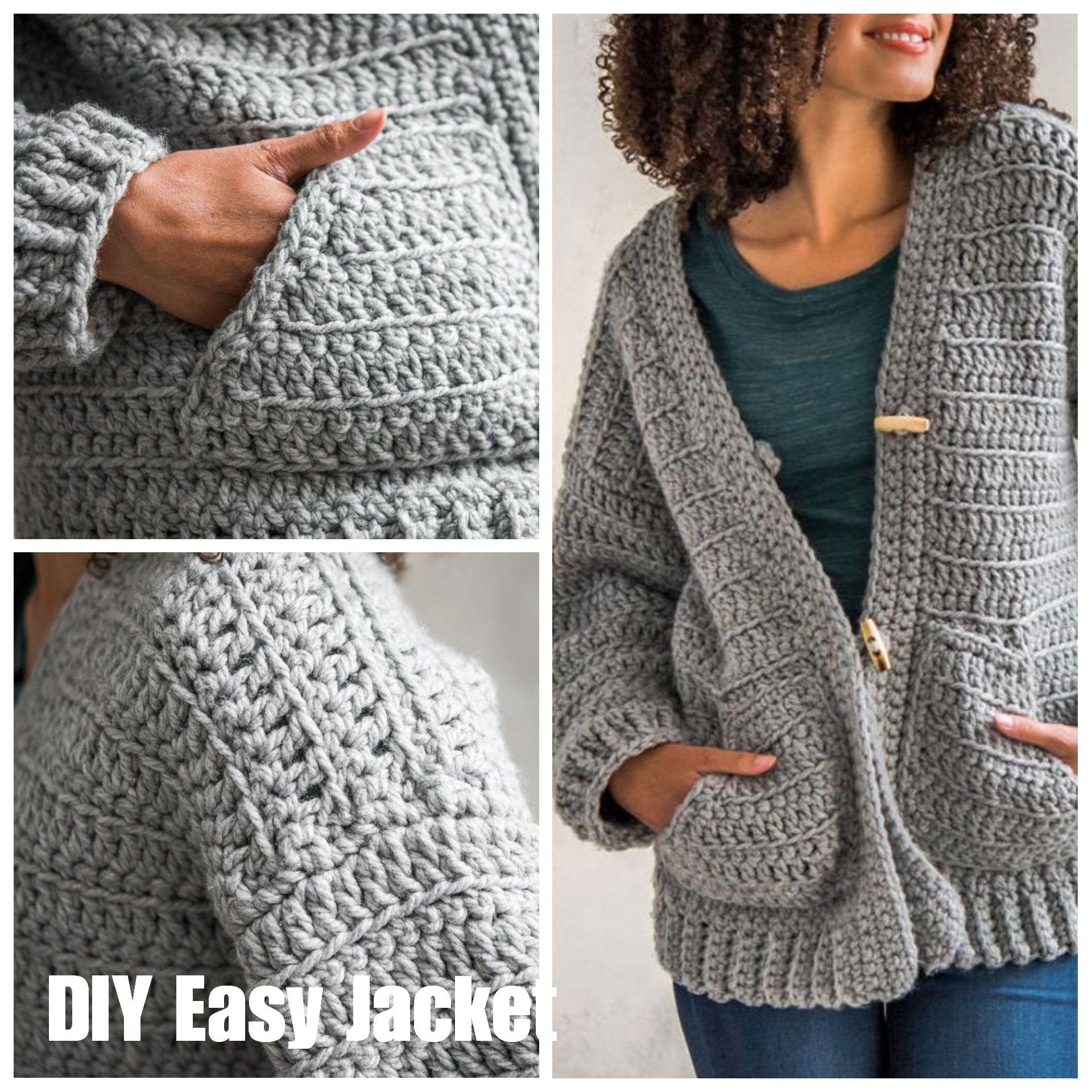 05a373d8e295c Easy to crochet casual slouchy jacket using bulky weight yarn. Comes with  printed pattern and yarns!