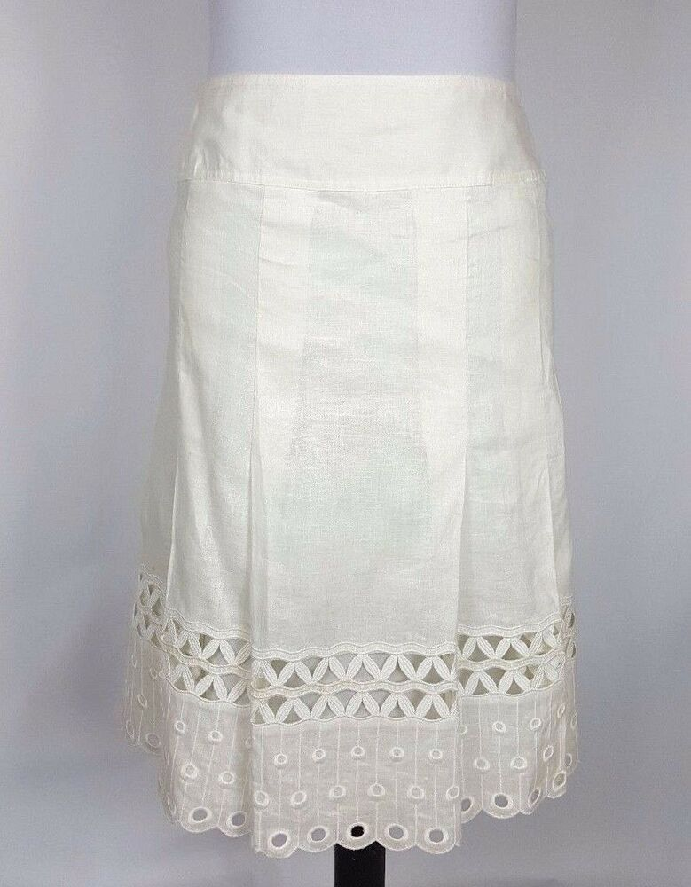 ccd9111d05 Ann Taylor Women's White Linen Skirt Size 2 Embroidered Eyelets Scallop  Lined | eBay