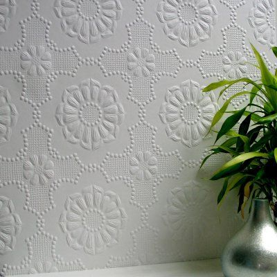 Brewster Alexander Paintable Supaglypta Wallpaper   437 RD0647