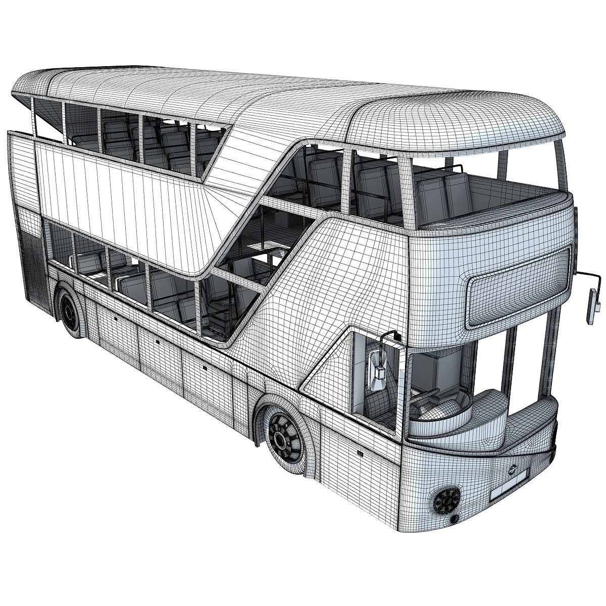 London Double Decker Bus Wireframe Meios De Transporte E Transporte