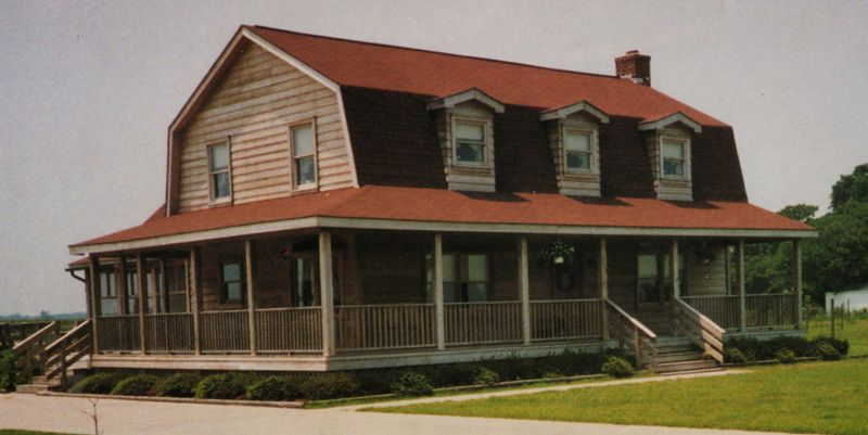 Exterior Design: Dark Gambrel Roof Matched With White Siding And ...