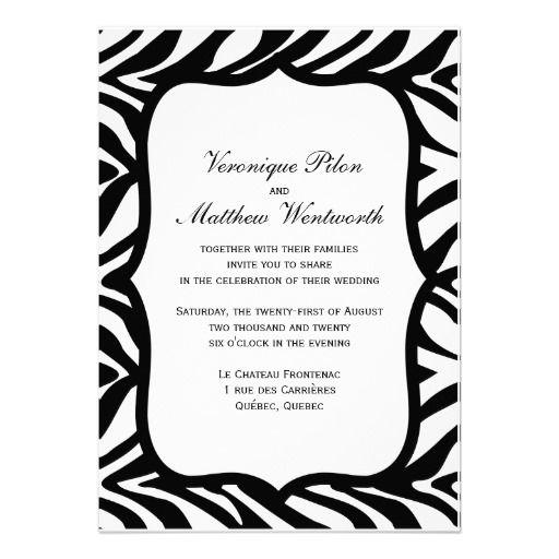 Zebra Print Black White Background Wedding Personalized