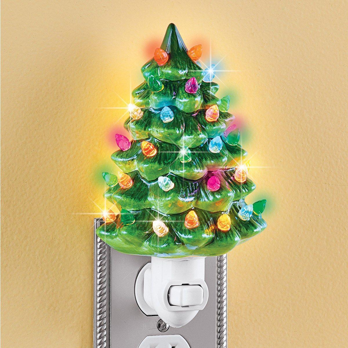 Ceramic Christmas Tree Night Light 6 H Collections Etc In 2020 Christmas Tree Night Light Ceramic Christmas Trees Christmas Tree