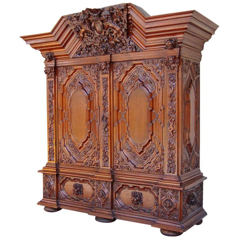 Authentic Hallway Cabinet from Gdansk, circa1890 | From a unique collection of antique and modern cabinets at https://www.1stdibs.com/furniture/storage-case-pieces/cabinets/
