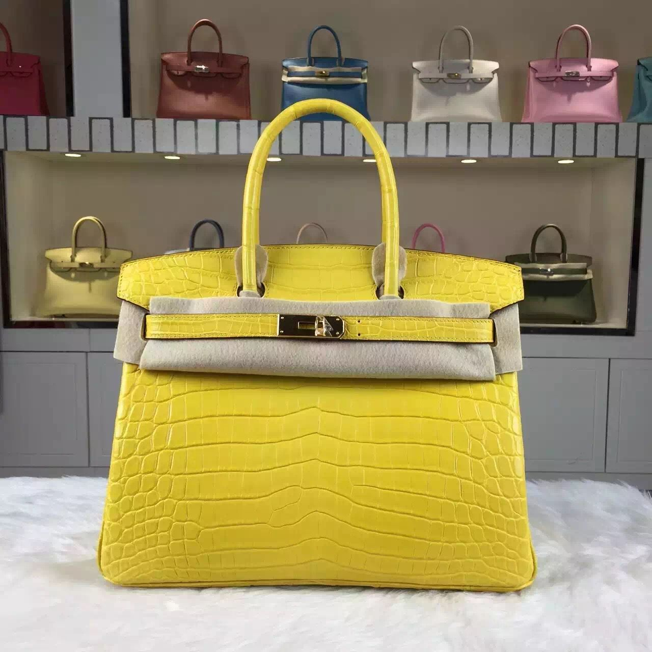 307d9ded3b Brand: Hermes; Style: Birkin Bag30cm; Material:Crocodile Matt Leather (HCP  original leather);Color: 9R Lemon Yellow; Hardware: Silver/Gold; Accessories:  ...