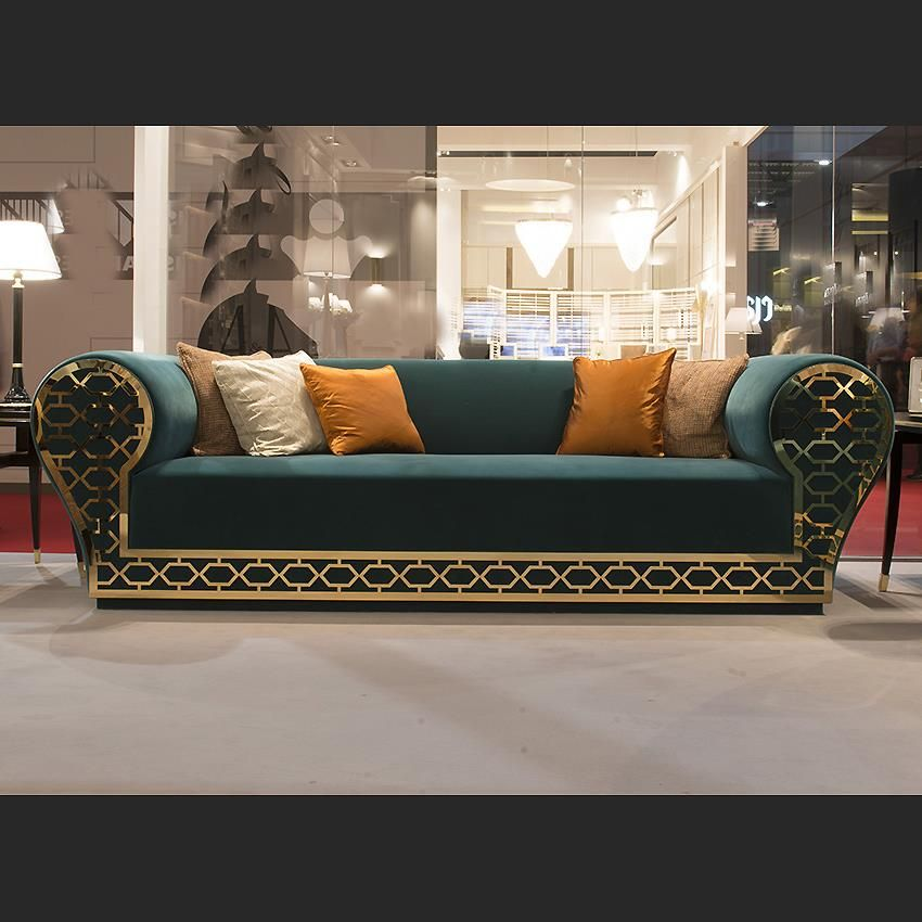 Luxury Sofas Sofa With Gold Metal Fretwork Design Taylor Llorente Furniture Luxury Furniture Sofa Luxury Sofa Modern Sofa Designs