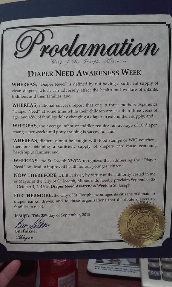 St. Joseph, MO - Mayoral proclamation recognizing Diaper Need Awareness Week (Sept. 28 - Oct. 4, 2015) #DiaperNeed www.diaperneed.org