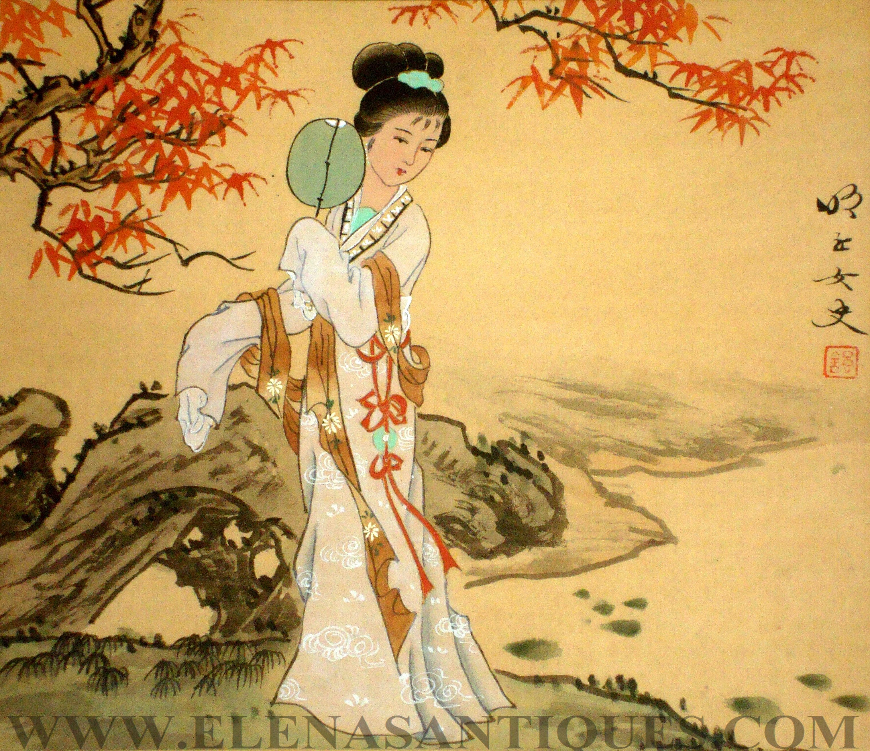 Tokyo Geisha Girl Wallpaper Background Pics For Gt Japanese Paintings On Silk Japanese Art
