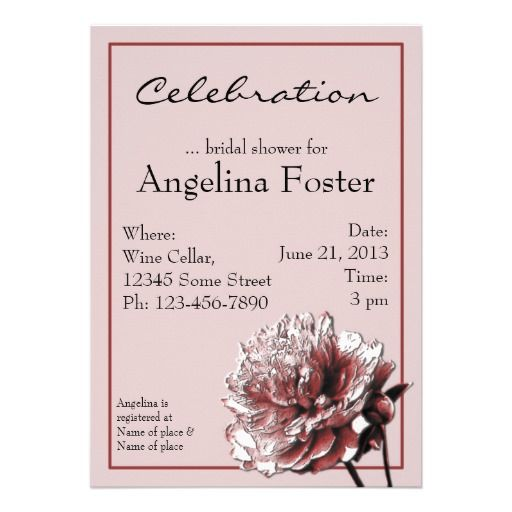 Burgundy and Pink Peony Bridal Shower Personalized Invites-Court's wedding flower