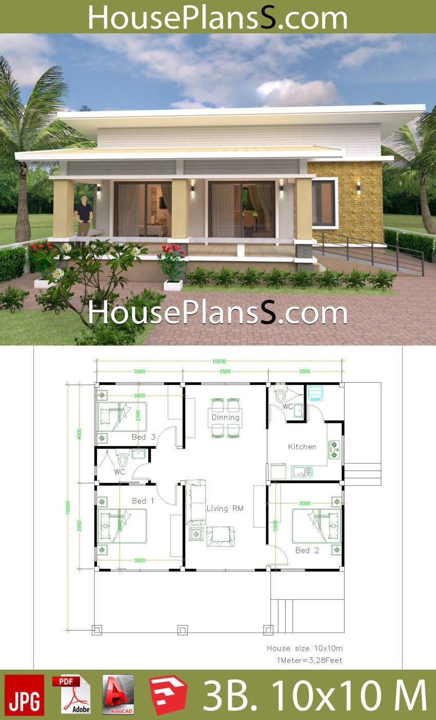 House Design Plans 10x10 With 3 Bedrooms Full Interior
