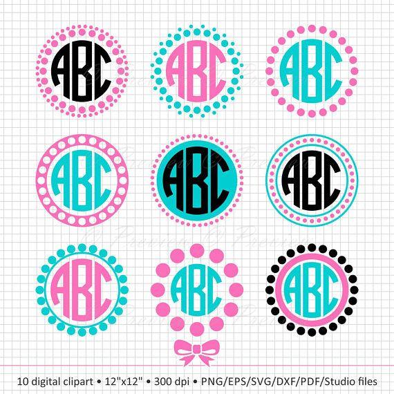 56e4feba0f8c43 Buy 2 Get 1 Free! Digital Clipart Circle Monogram Dot Frame ...