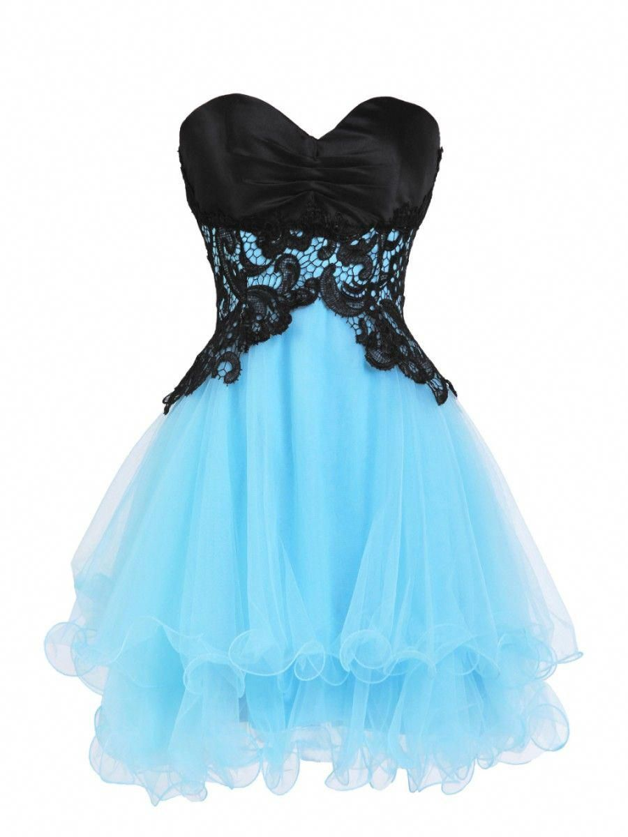 Hot sale short black blue sweetheart prom evening cocktail