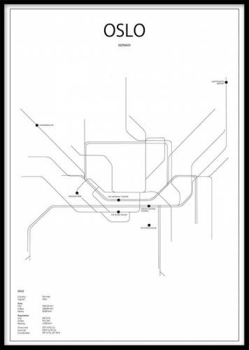 Oslo Metro Poster Oslos T Banesystem Plakat Med Grafisk Kart