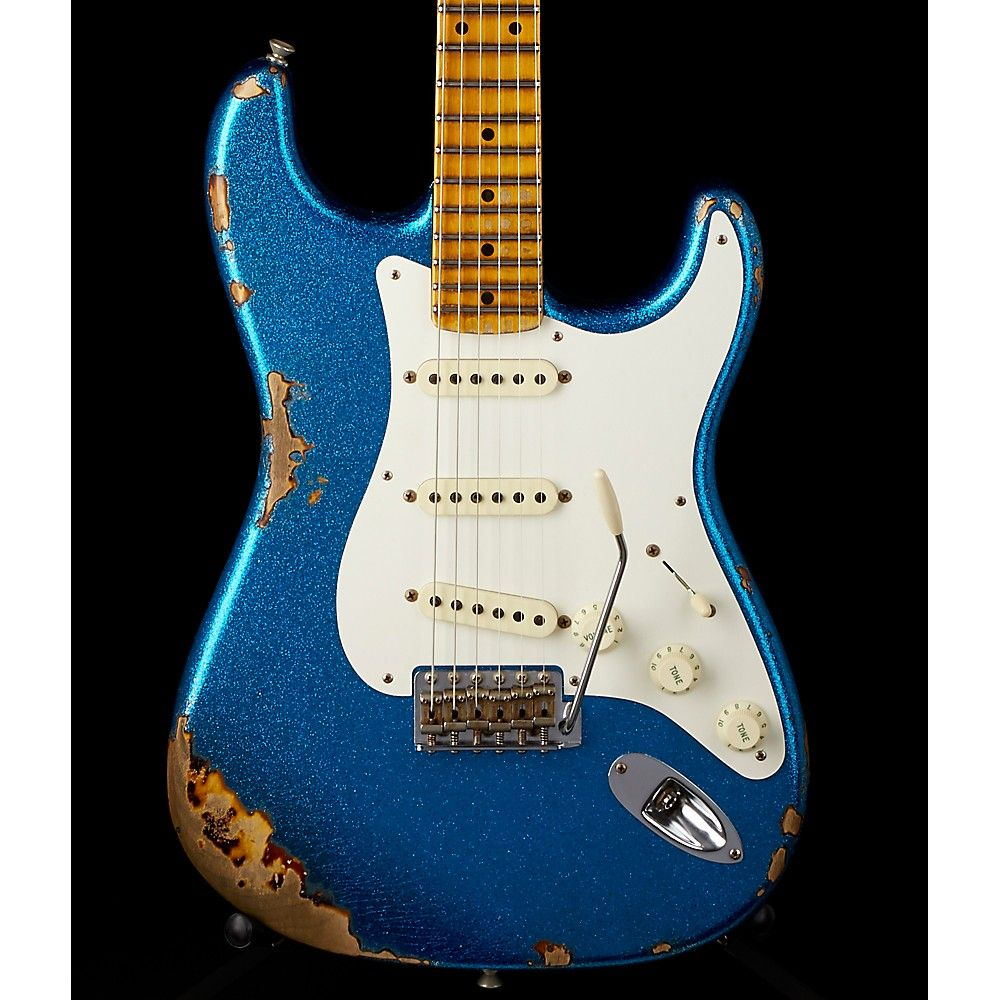 1957 Heavy Relic Stratocaster Electric Guitar Blue Sparkle Over 2 5039s And Modern Wiring Style Diagram From Http Wwwmylespaulcom Fender Custom Shop Color Sunburst Maple