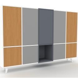 Sideboard Weiß – Designer-Sideboard: Türen in Eiche – Hochwertige Materialien – 195 x 130 x 35 cm, I