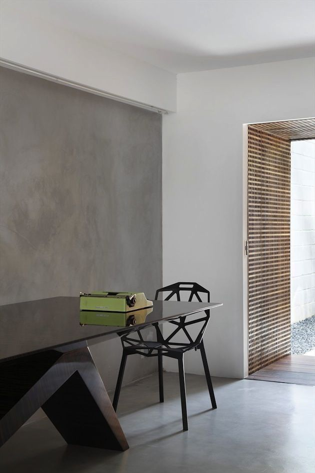 Concrete Style Feature Wall To To Gable Bulkhead Here Too Minimalism Interior Interior Design Interior