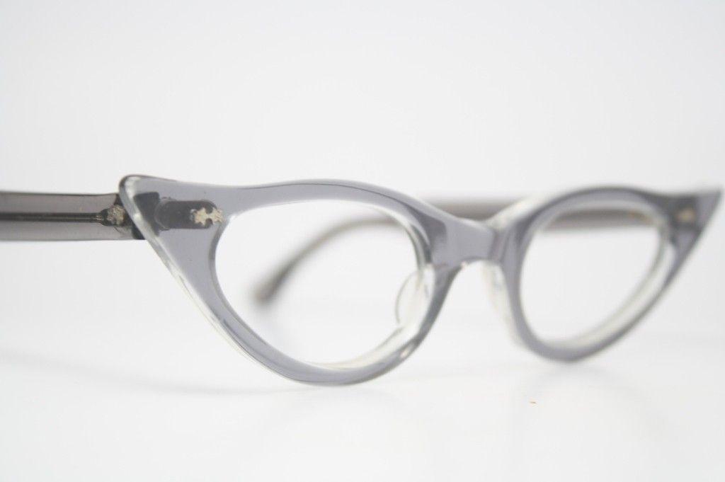 Gray Pointy Cat Eye Glasses - Cat eye glasses - Vintage eyeglasses ...
