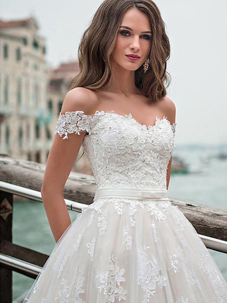 onlybridals Tulle Aline Wedding Dresses Off The Shoulder