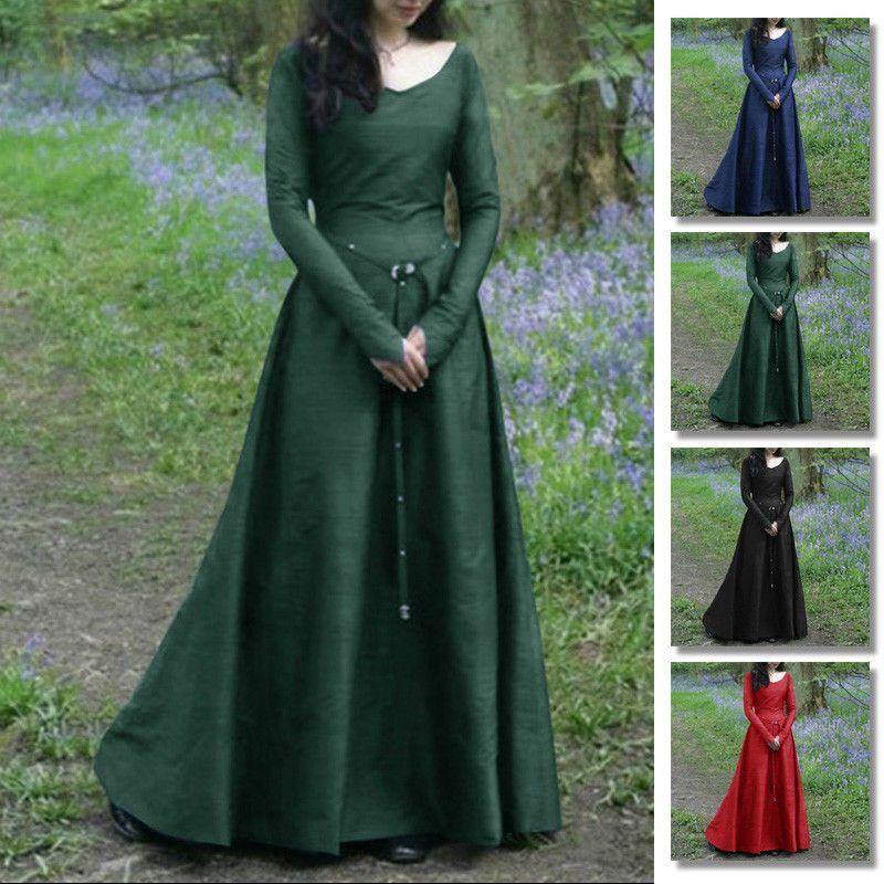 Medieval Dress Womens Vintage Victorian Renaissance Gothic Costume Gown Dresses