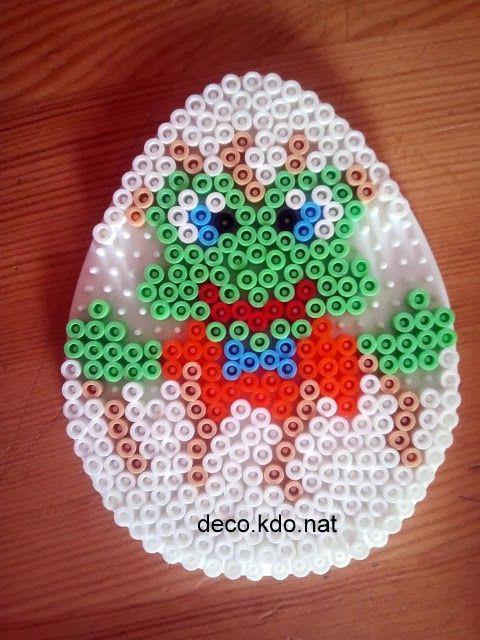 DECO.KDO.NAT: Perles hama: oeuf de pâques grenouille