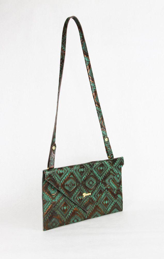 "Bohemian Ikat ""Emily"" Leather Envelope Clutch/ Crossbody"