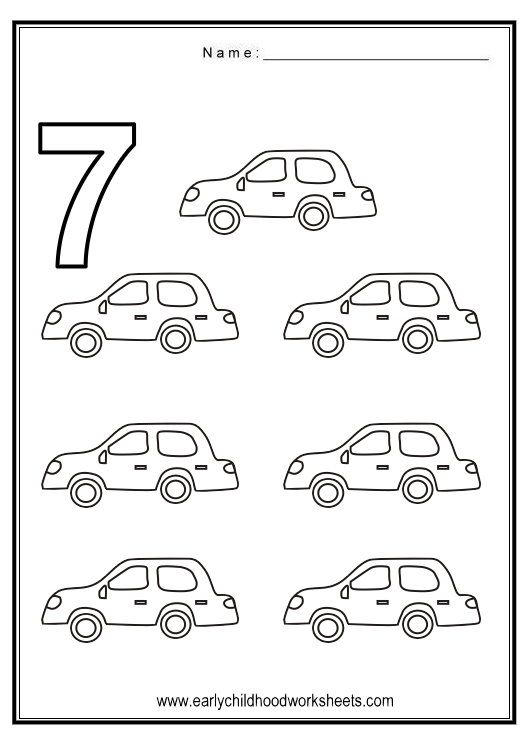 Number 7 Worksheets Coloring Number 7 Vehicles Theme