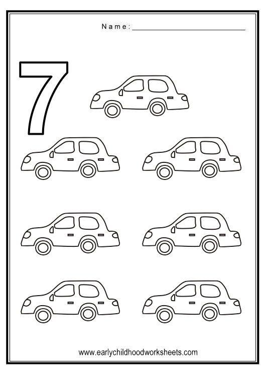 Number 7 Worksheets | Coloring Number 7 - Vehicles Theme | Preschool ...