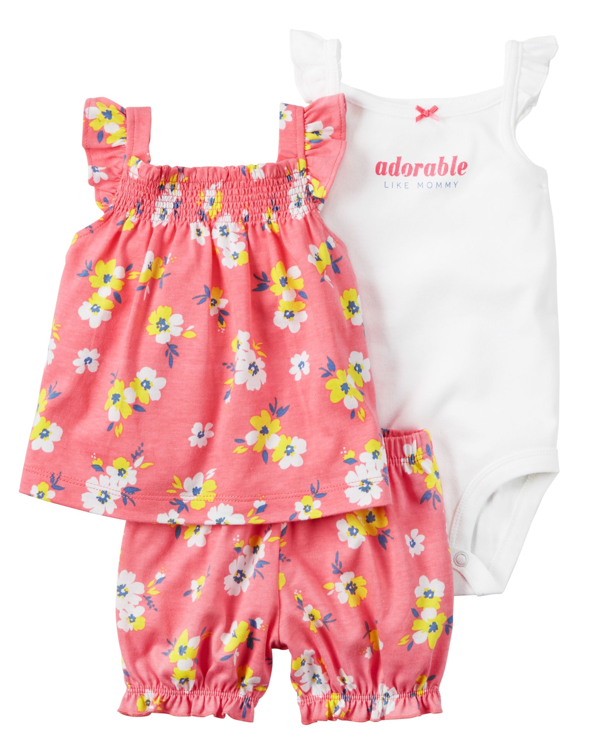 c5498495f Baby Girl 3-Piece Bodysuit   Diaper Cover Set