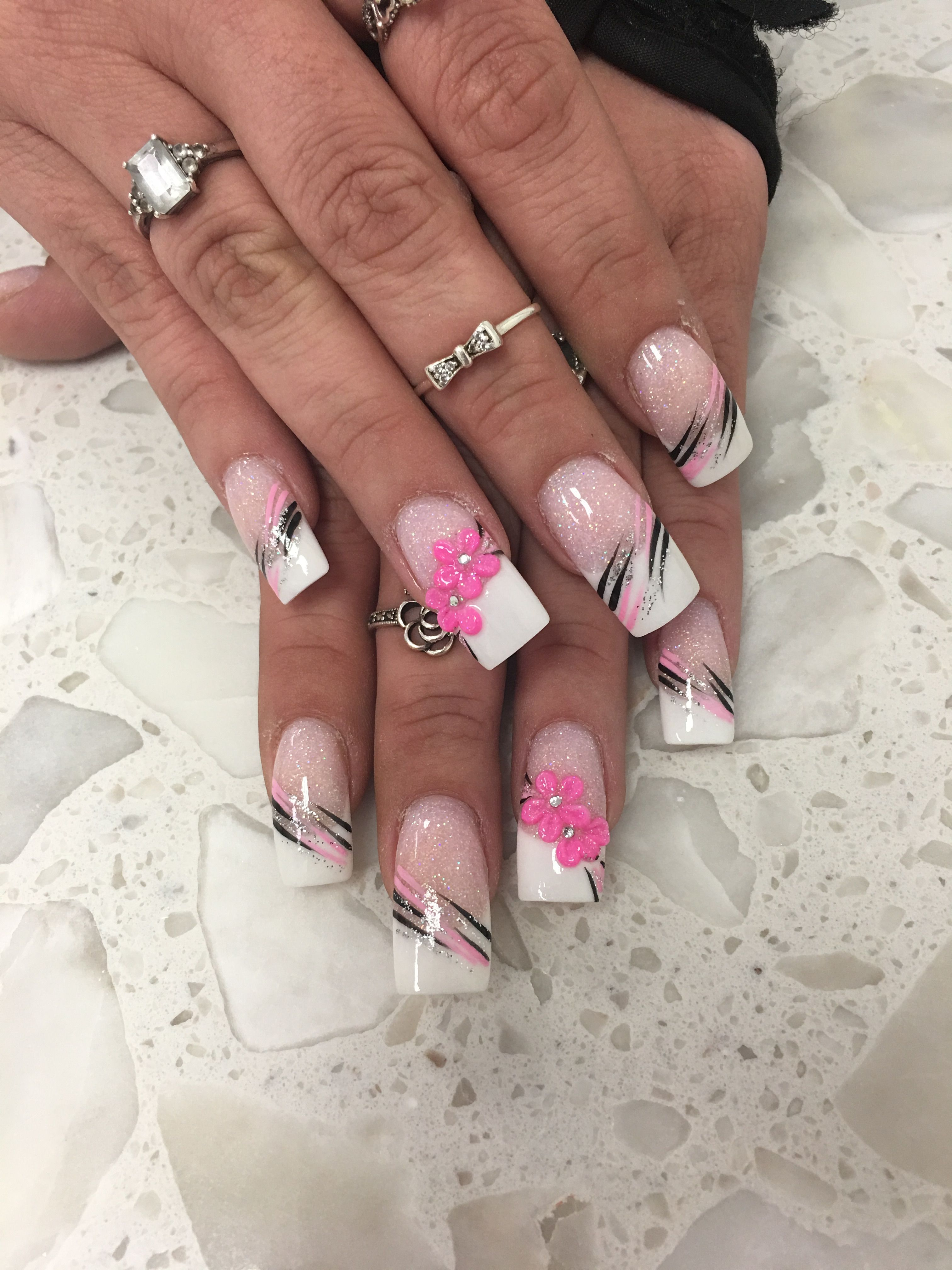 Pink and White 3D Flower Glitter ANC Pink Black Design Nail Design ...