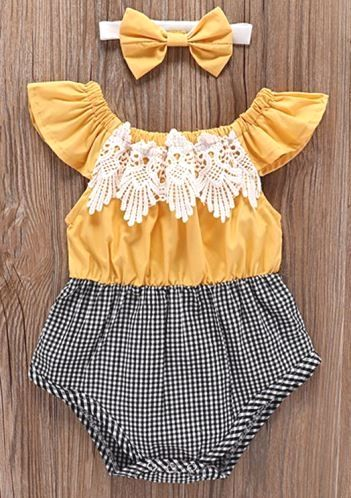 Suits Outfits Clothes Lace Headband Girls Romper Baby Clothes Patchwork Plaid
