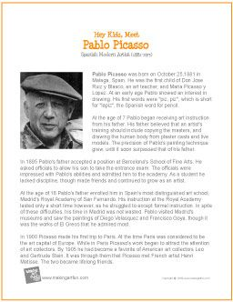 Hey Kids Meet Pablo Picasso  Printable Biography  Http