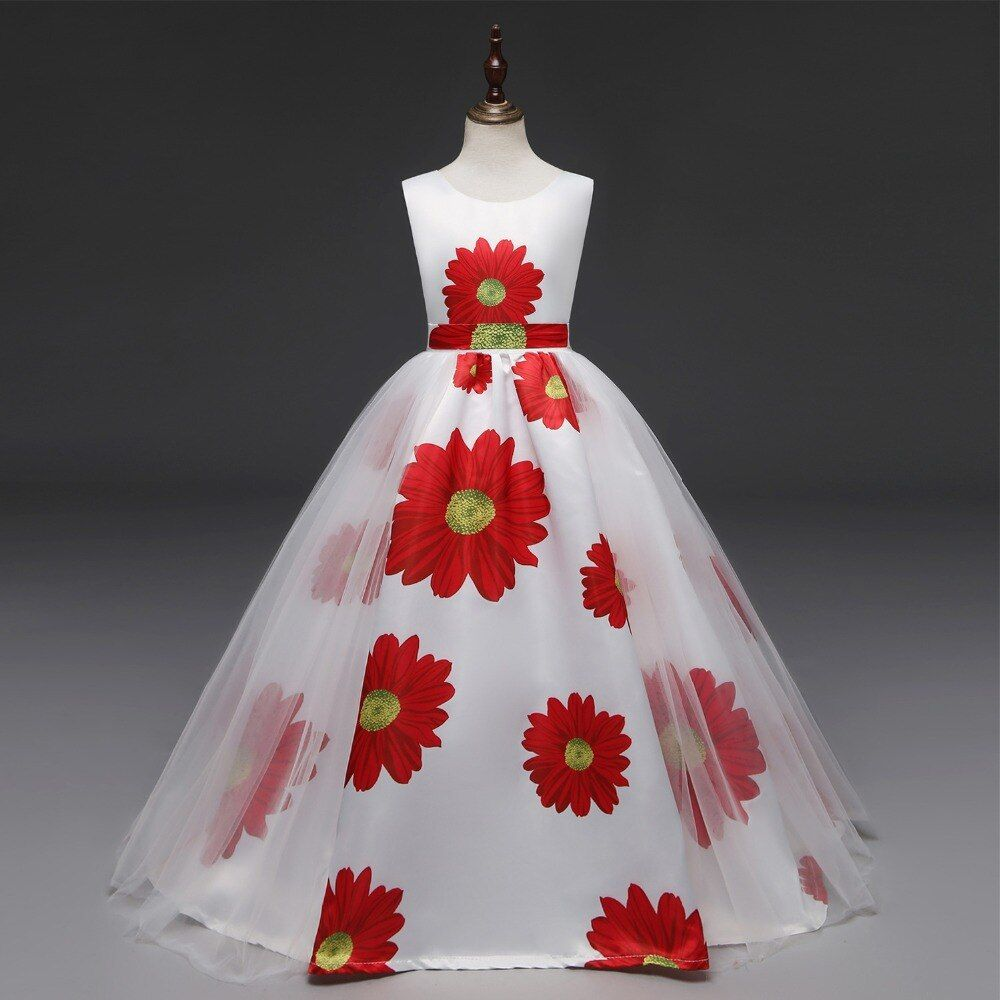 New Big Size Baby Girl Princess Dresses Mesh Girl Flower Printing Dress For Birthday Wedding ...