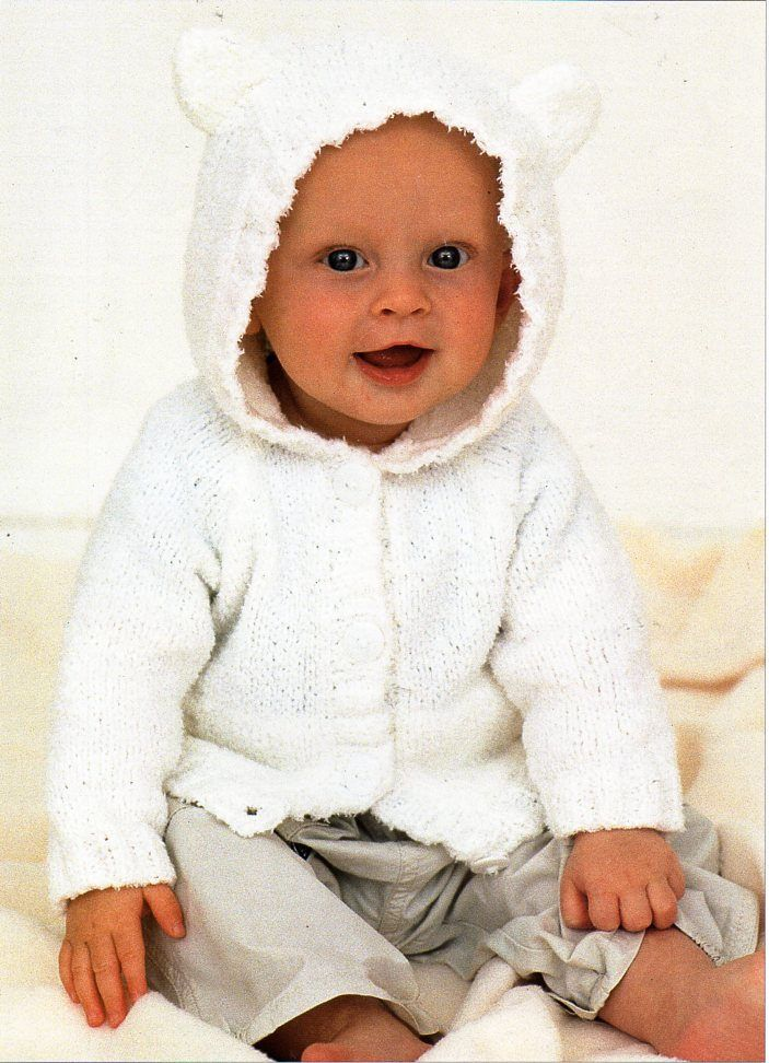 18e14af78 baby knitting pattern pdf baby hooded jacket with ears baby cardigan ...