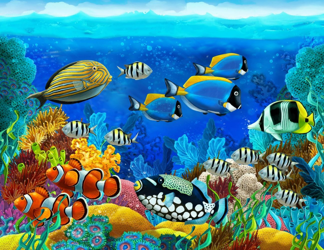 Sea Seabed Fish Corals Underwater Ocean Tropical G Wallpaper Underwater Wallpaper Underwater Painting Fish Painting