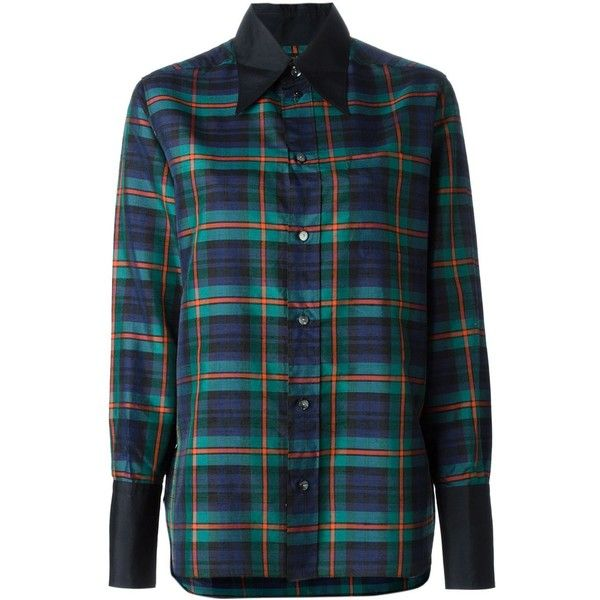 Jean Paul Gaultier Vintage Tartan Shirt ($115) ❤ liked on Polyvore featuring tops, shirts, blue, blue plaid shirt, cuff shirts, button front tops, plaid top and long-sleeve shirt