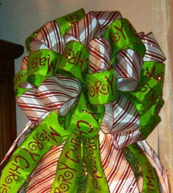 SUPER SALE 1/2 OFF Candy Cane Striped  Lime Green Merry Christmas