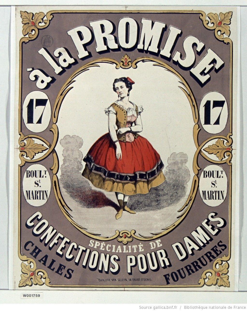 A la Promise 17 boult St Martin. Spécialités de confections pour dames. Châles, fourrures : [affiche] / [non identifié]