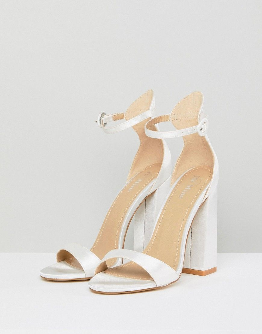 b477a59fd65 Be Mine Bridal Lauren Ivory Satin Flared Block Heeled Sandals - White