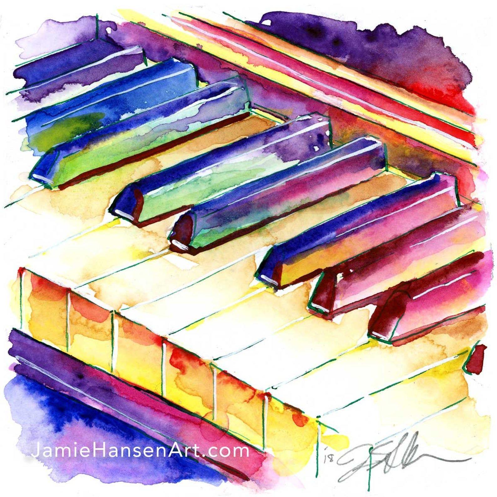 Cunningham Piano wall art – Colorful piano watercolor – piano room art – Music Room Decor