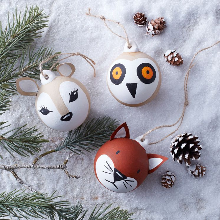 How To Make Woodland Animal Baubles Woodland Animal Baubles Christmas Tree Decoration Diy Diy Christmas Baubles Painted Christmas Ornaments Xmas Baubles