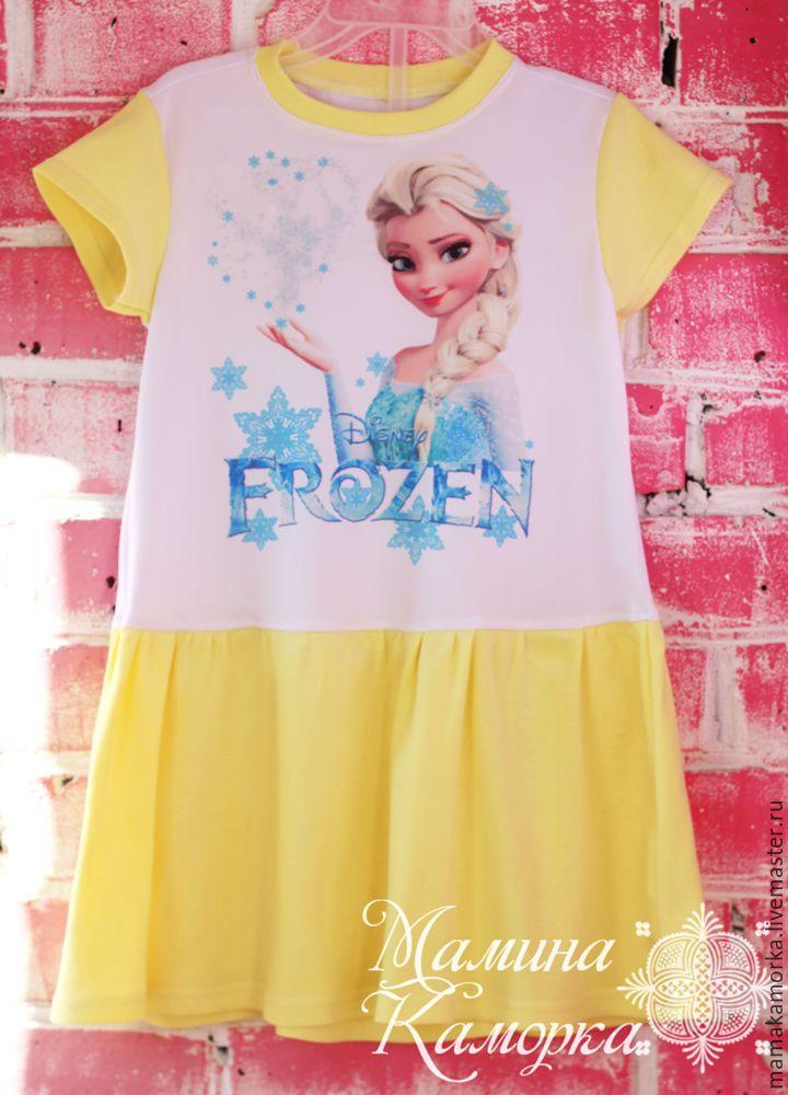Купить Желтое платье с Эльзой - лимонный, платье для сада, платье для девочки, платье для малышки